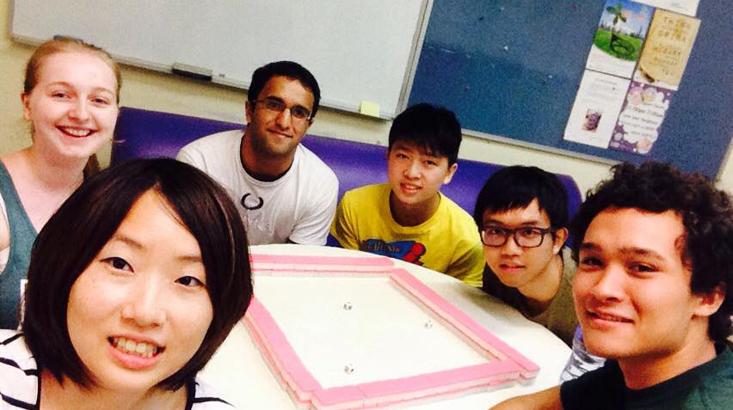 Nitish Dharmar, summer 2015 participant, and his group at City University of Hong Kong