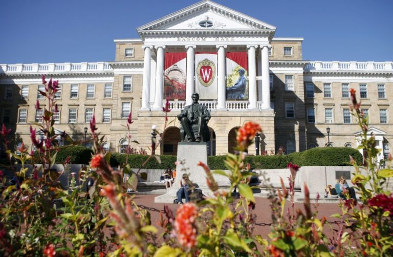 Abe Lincoln Statue in front of Bascom Hall